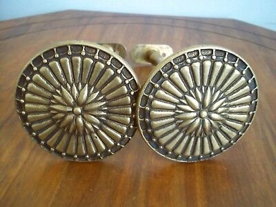 Antique or vintage Sand Cast Brass Medallion Curtains Drapes Tie Backs