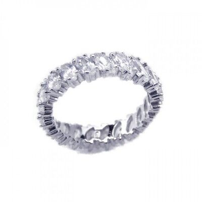 Womens 925 Sterling Silver Rhodium Plated Clear Marquise CZ Eternity Bridal Ring