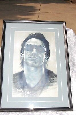 Bono Signed Pastle Drawing Print And Numbered 4/100 Framed