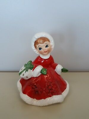 Vintage Lefton Christmas Girl In Red Dress With Purse 6604