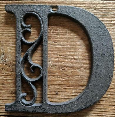 Cast Iron LETTER D Scroll Rustic Brown Metal Alphabet Signs Vintage/Rustic Style