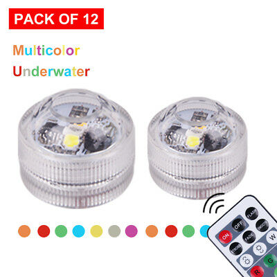 12pcs Submersible LED Lights Waterproof Underwater Light with 2 Remote RGB Color