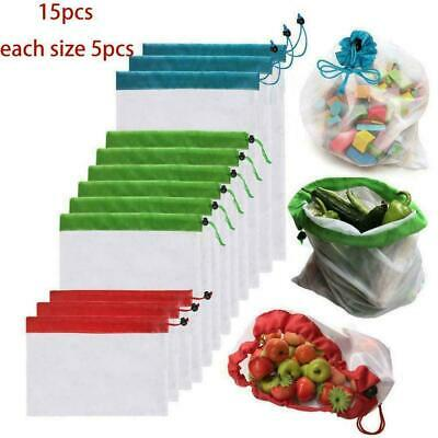 15pcs Reusable Produce Mesh Bags Black Rope Vegetable Fruit Toy Storage Pouch