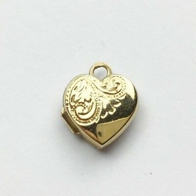 Vintage 9Ct Gold Love Heart Photo Picture Locket Pendant For A Necklace Small