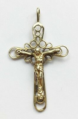 Vintage Solid 9Ct Gold Jesus Cross Religious Pendant For Necklace Cut Work