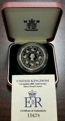 1993 UK Royal Mint Silver Proof Crown Coin Coronation 40th Anniversary w/ COA