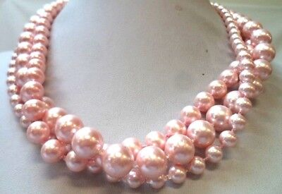 """Stunning Vintage Estate Pink Faux Pearl Beaded 18"""" Necklace!!! 1491J"""
