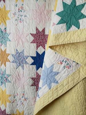 Vintage 30s Cottage Yellow + Stars Feedsack Quilt 76x62