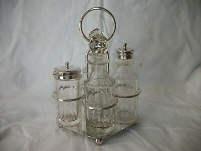 One Vintage Cut Glass 4 Piece Cruet Set On A Epns Stand  - See Photo's