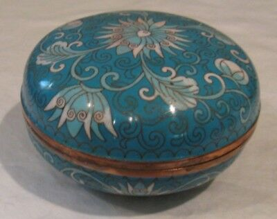 Cloisonne Lidded Bowl Turquoise with Flower 4.75 Inch Dia and 2.75 Inch Tall