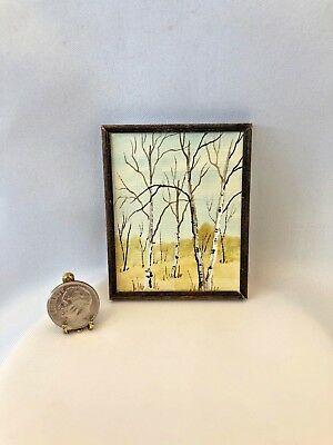 Dollhouse Miniature Artist Signed Hand Painted Watercolor of Birch Trees  1:12