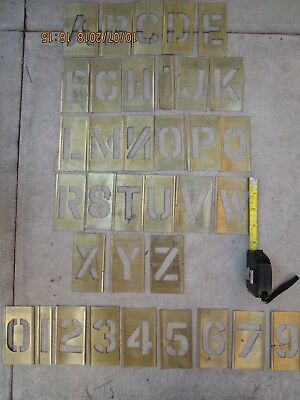 set of vintage brass stencil letters & numbers 3.5 inch x 2.1/4 in