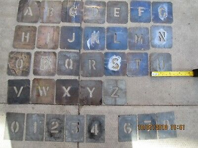 set of metal stencil letters  A to z  ,numbers 0 to 8 ,   number 5 missing