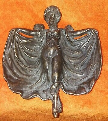 ASHTRAY WOMAN FIGURE Aschenbecher Jugendstil Metall Bronze ? Kupfer ? Messing