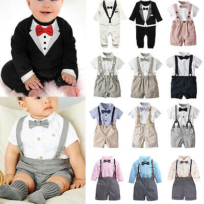 2PCS Baby Toddler Boy Wedding Christening Tuxedo Formal Suits Clothes Outfit Set