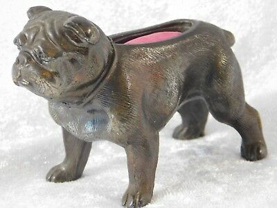 ATQ 1900's Bronze Tone Metal English Bulldog Figural Pin Cushion GREAT DETAIL