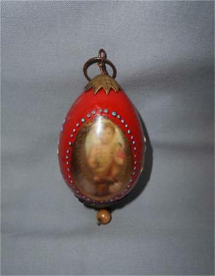 Antique Russia TOP RARE USED ENAMEL PAINTED GLASS EASTER EGG WITH ICON