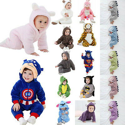 Newborn Infant Baby Boy Girl Animal Hooded Romper Jumpsuit Clothes Outfit Set UK
