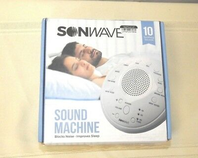 New Sonwave Sleep Sound Machine Therapy System 10 Soothing Sounds -White