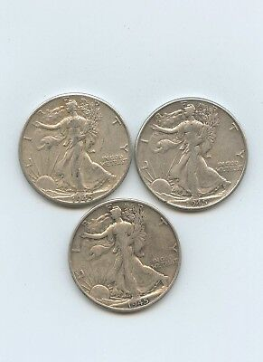 1945 - P D AND S - Walking Liberty Halves  - F+ - #14465