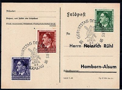 Ww2 Generalgouvernement 1944 - Fdc Adolf Hitler Birthday First Day Card