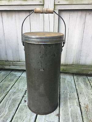 Vintage Rare Metal Milk~Ice Cream Container~Pail~Bucket With Lid & Wood Handle