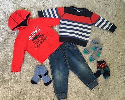 Lovely Bundle Of Boy Clothes Hoodie Jumper Jeans - 12-18 Months