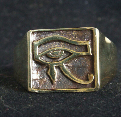 Bronze Eye of Horus Ring Custom Size Ancient Egyptian Talisman Occult R-25b