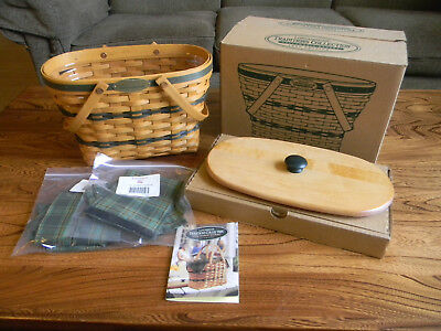 Longaberger Traditions 1997 Fellowship Basket set w/ protector, liner, lid - NEW