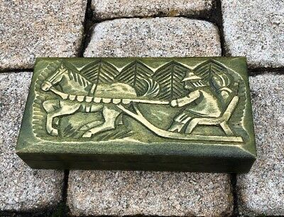 Vintage GreenTone Wooden Box Hand Carved & Burned Design from Poland