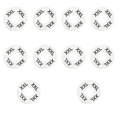 10 Pc XXL XX-Large White Round Clothing Rack Size Dividers Plastic Hangers Ring