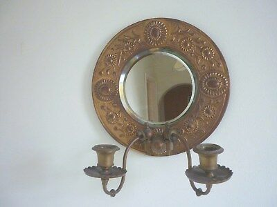 Antique Vintage Round BRASS Bevelled MIRROR 2 CANDLE WALL SCONCE MIRROR C 1920s