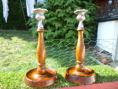 Pair Of Vintage Chrome-Topped Turned ( OAK ) Wood Candlesticks.Lovely condition