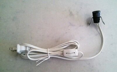 6' White Lamp Cord Set With Clip In Candelabra Socket and Line Switch