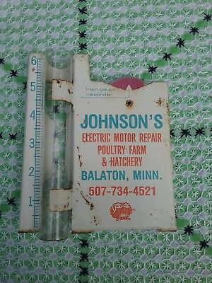 Vintage Advertising Rain Gauge Johnson's Electric Motor Poultry Farm Balaton MN