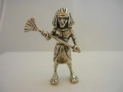 Stunning Rare Vintage Sterling Silver Egyptian Pharaoh Figurine Statue