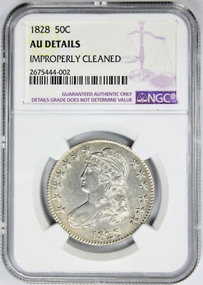 1828 Capped Bust Half Dollar 50c NGC AU Details Overton O-120 Knob Small 8s Coin