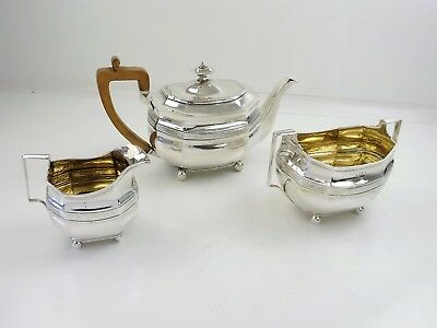 Excellent 3-piece Georgian SILVER TEA SERVICE, London 1808 SH TEAPOT SET 1010g