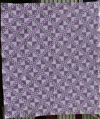 "Antique Quilt, ""Ships at Sea"" Lavender and White Intricate Pattern,  #18330"