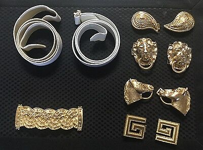 LOT Signed Mimi di N Gold Plated Belt Buckles & 2 Belt Strips