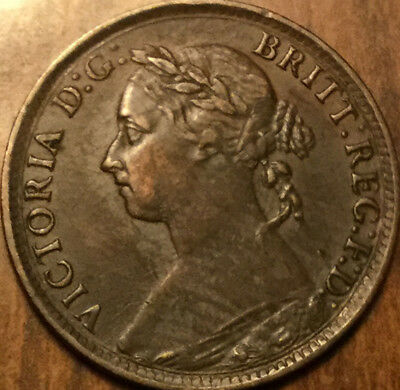 1890 UK GB GREAT BRITAIN VICTORIA FARTHING - Fantastic example in great details!