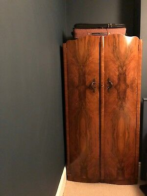 Antique Stunning Walnut Art Deco Wardrobe