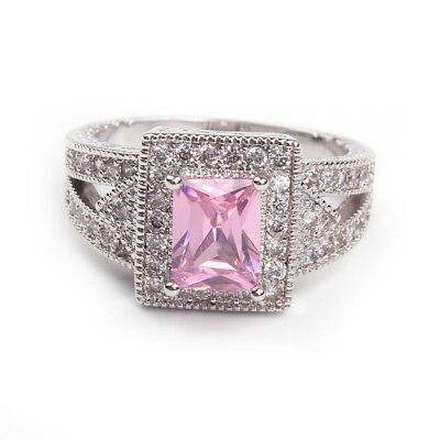 Ladies Fire Pink Sapphire 18KT White Gold Engagement Wedding Ring Size K-O-Q-R