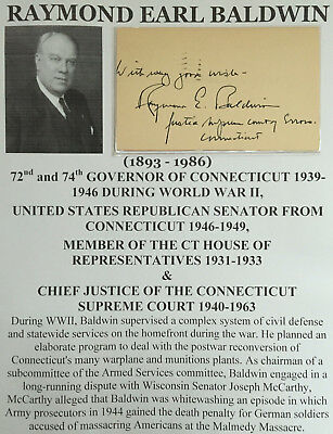 Wwii Governor Connecticut Senator Congressman Chief Justice Postal Letter Signed