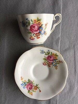 CLARE Bone China England Floral Tea Cup And Plate