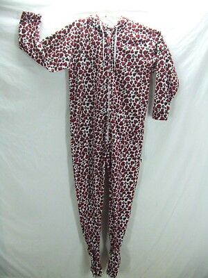 Jumpin Jammerz One Piece Footed Pajamas W/Hood Red Brown Hearts Adult Med. EUC n