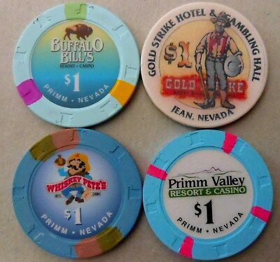 4  $1 CASINO CHIPS from Jean & Primm, Nevada (some obsolete) I combine Shipping