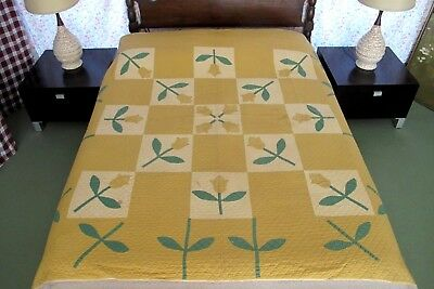 Antique Truly OLD Hand Sewn All Cotton TULIPS APPLIQUE Quilt, Needs Some TLC !