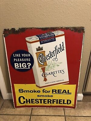 Vintage Chesterfield Cigarettes Tin Advertising Sign