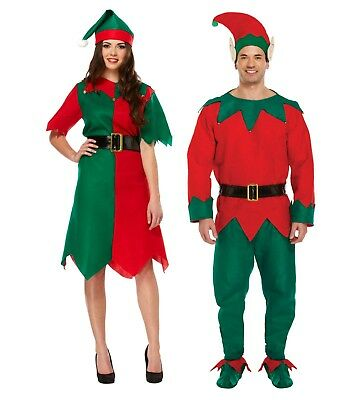 Adult Elf Costume Mens Ladies Christmas Santa Fancy Dress Xmas Outfit Party New